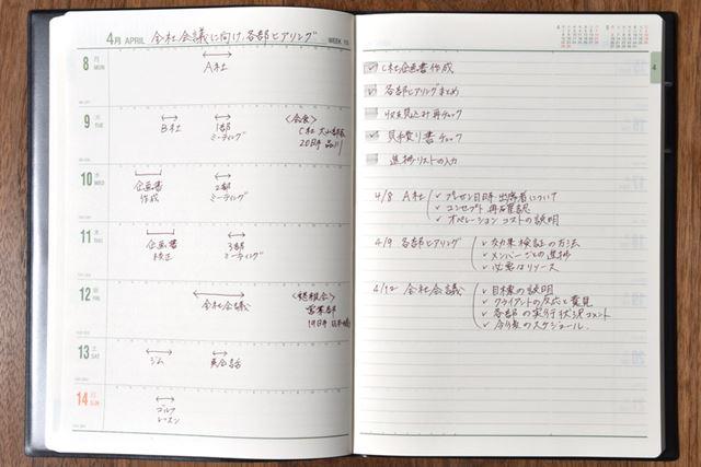 週間レフト式のメインページ。「能率手帳」普及版を拡大した感じ