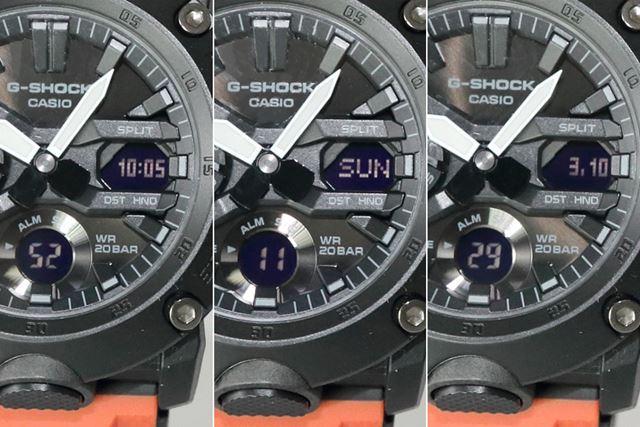 液晶画面の表示内容は、現在時刻のデジタル表示や日付、曜日に変えられる