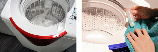 部分洗いの洗剤を襟や袖に塗布する際などは、手前側のスペースで