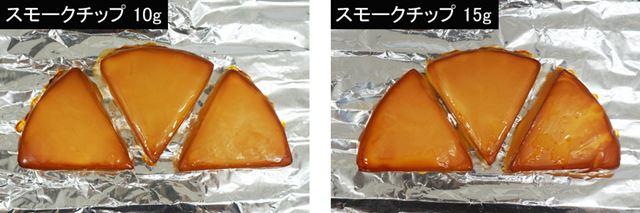 スモークチップ10gと15gで燻製した比較
