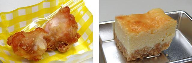 「ET-YA30」で調理された「ノンフライ唐揚げ」と「ベイクドチーズケーキ」