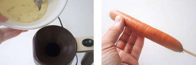 (1)生地に黒こしょうを混ぜ、その半量を投入します。(2)付属の串にソーセージを差します。