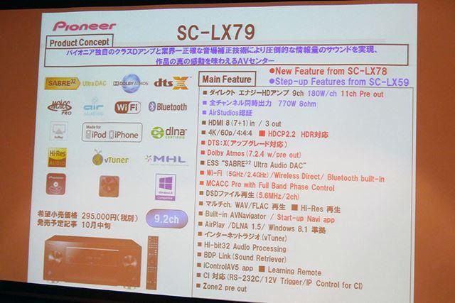 同時に発表されたSC-LX79。希望小売価格は295,000円(税別)。10月中旬発売予定