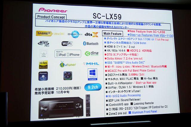同時に発表されたSC-LX59。希望小売価格は210,000円(税別)。10月中旬発売予定