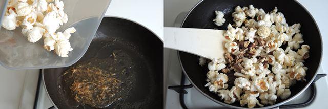 (10)ポップコーンを加えて味を絡めましょう。<br>(11)くるみも加えて混ぜます。