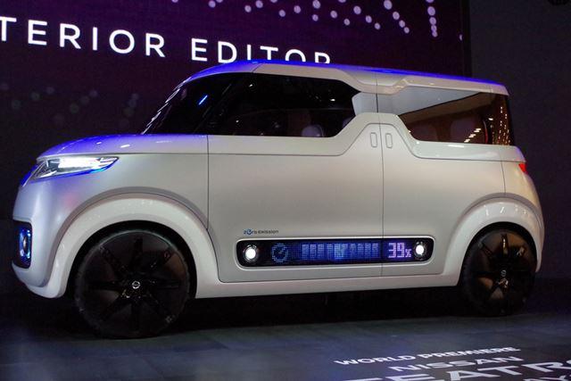 EV軽自動車のテアトロ forデイズ。フロントやサイドにLEDが備わっている