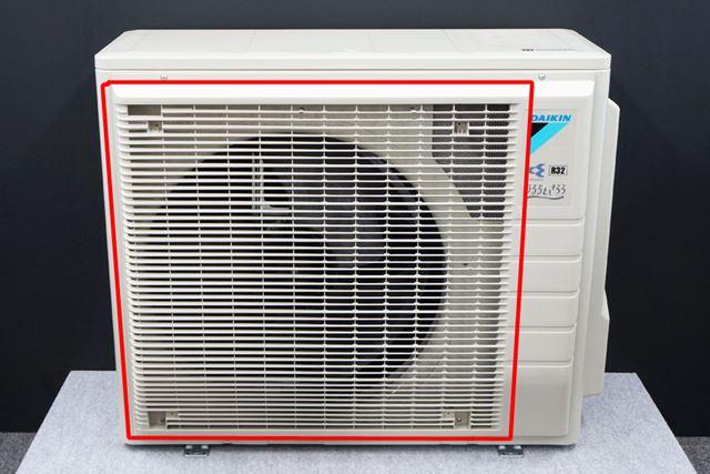加湿ユニットが小さくなったことで、熱交換器のエリアが大きく確保できるように(赤い囲み部分)