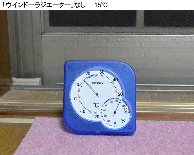 「ウインドーラジエーター」のない窓のほうは、室温が15℃だった