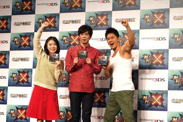 マルチ篇CMの出演者。左から、女優の松岡茉優さん、お笑い芸人の井上聡さん、タレントの武井壮さん