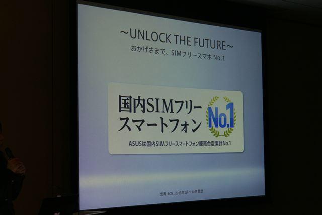 ASUS JAPANは国内SIMフリースマホの累計販売台数で1位を獲得。2015年1月から10月、BCN調べ