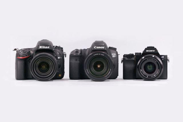 左からニコン「D610」、キヤノン「EOS 6D」、ソニー「α7」