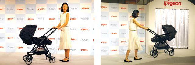 新製品発表会に登場した木村佳乃さん。使い慣れた様子でベビーカーを自由自在に操っていました
