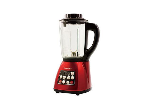 本体サイズは、約240(幅W)×210(奥行)×408(高さ)mm。重量は約3.95kg。消費電力は750W。 回転数は、約21,000回転/分。容器容量は、1.2L(スープ調理時)/1.7L(沸騰・再加熱調理時)