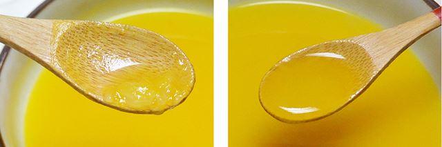 スープでは、好みの食感が選べるようになっている。左は「粗い」、右は「なめらか」で調理したかぼちゃノポタージュ。いずれもざく切りした野菜を入れてスイッチを押すだけ