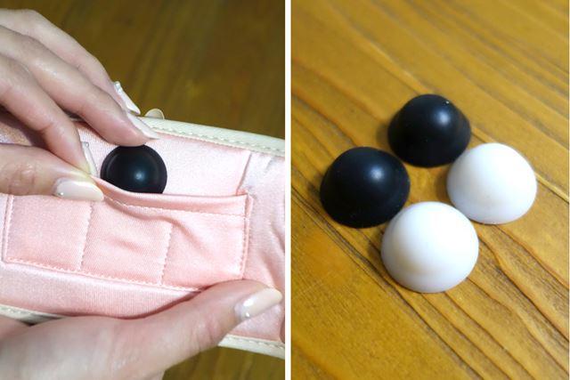 全部で4つのプレート。黒がハードタイプで白がソフトタイプ。このようにポケットにいれます