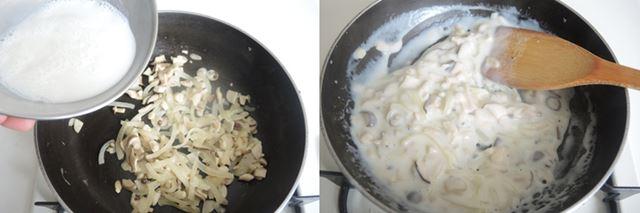 (5)フライパンに(4)を流し入れて、中火で1〜2分煮ます。(6)とろみがついたらきのこソースは完成。