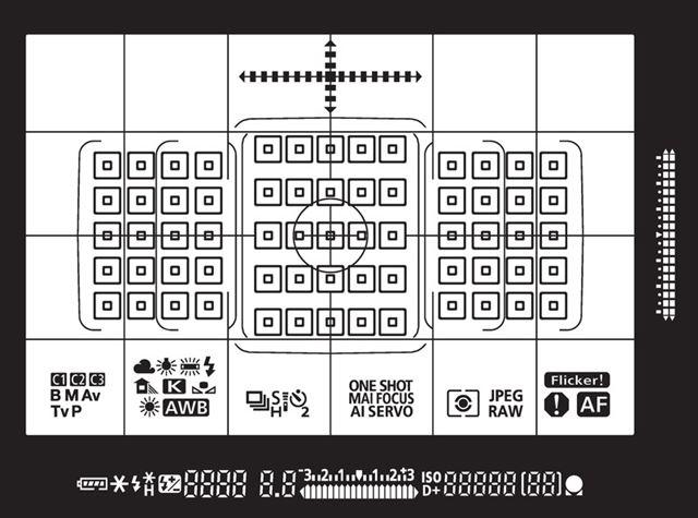 EOS 7D Mark IIのファインダー内表示。フォーカスポイントは65点
