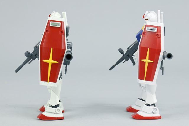 盾やビームライフルも新モデルのほうがひと回り大きくなりました。赤や黄色も変更されていますね