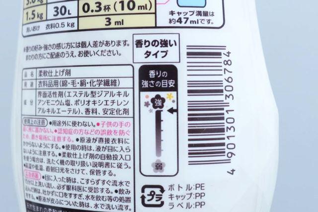 花王は、香りの指標を5段階でパッケージに記載しているので、参考になります