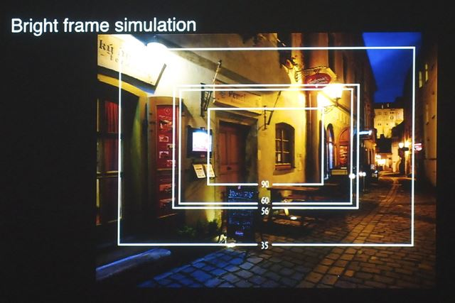 焦点距離の画角を確認できるブライトフレームシミュレーション