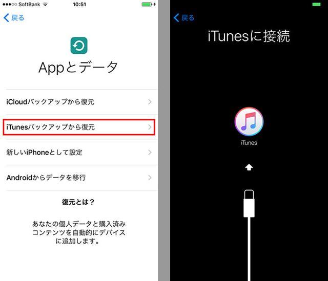 「iTunesバックアップから復元」を選んでiPhoneをパソコンに接続する
