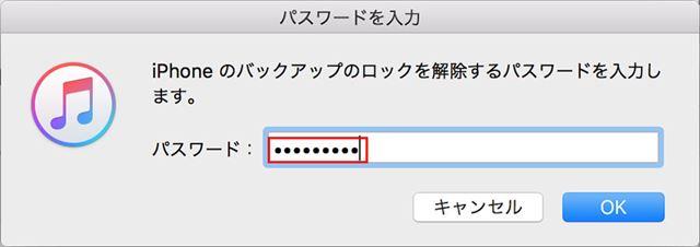 暗号化のパスワードを入力して「OK」をクリックする