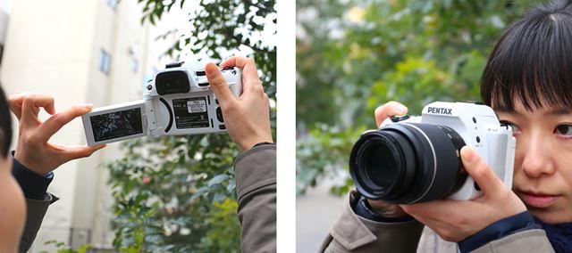 """180°回転させてレンズ側に向けると、通常のシャッターボタンとは別に設けた「自分撮りシャッター」ボタンが有効になり、手軽に""""自撮り""""が可能"""