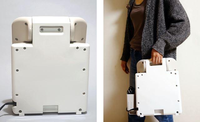 本体裏面には持ち運び用の「取っ手」があり、部屋間の移動もラク