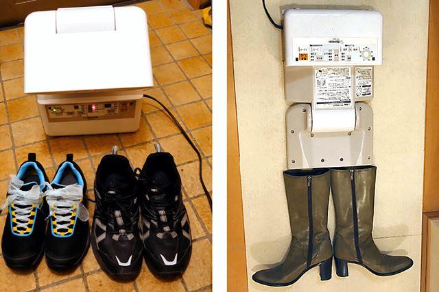 靴やブーツの乾燥も可能。ブーツは倒して乾燥する必要があるため、少々場所をとります