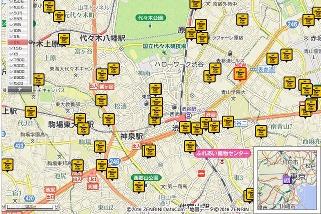 東京都渋谷区周辺のタイムズカープラスのステーションの配置状況。都市部の普及は、すでに侮れないレベル
