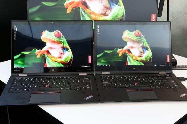 左が夏ごろに発売予定のOLEDモデル。右の液晶モデルと比べると、鮮やかなのが一目瞭然だ