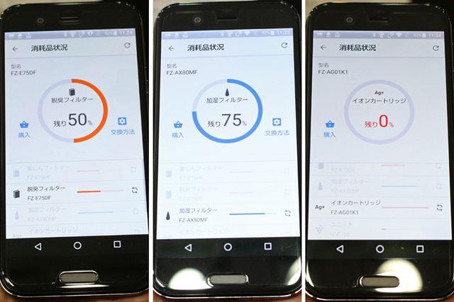 スマートフォンで消耗品の状況を確認