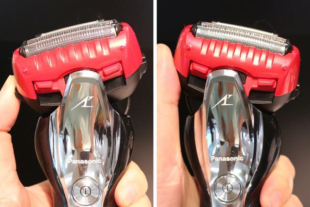 「密着スイングヘッド」は、軽い力で左右に30°傾くことで顔の凹凸にしっかり密着。剃り残しを防ぐ
