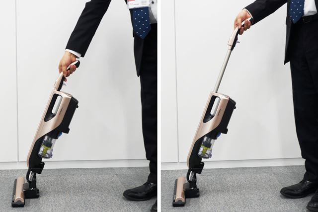 ヘッドを足で押さえる必要もなく、引くだけでパイプを伸ばせる。パイプの伸縮は4段階で調整可能