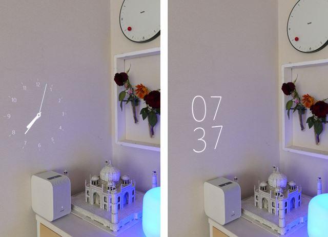 左はアナログ時計、右は細いフォントのデジタル時計の表示。枠がない分空間への溶け込み感がすごい