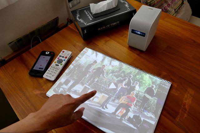 動画をプロジェクションすると、机の上の紙の中で人が動くき不思議な感覚に