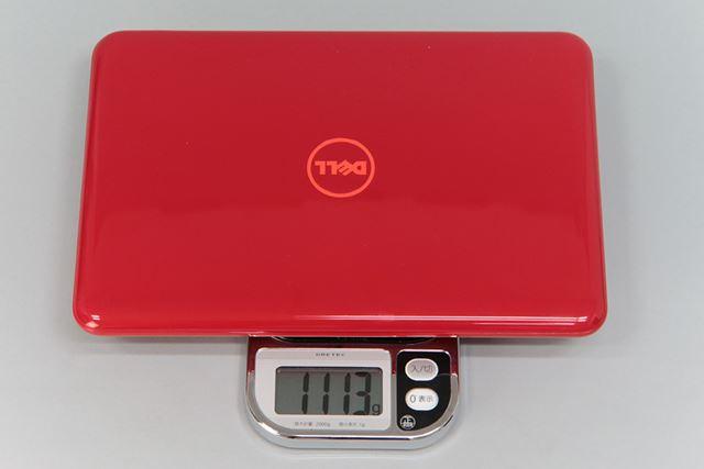 キッチンスケールでの実測はカタログスペックよりも少し軽い1.113kgだった