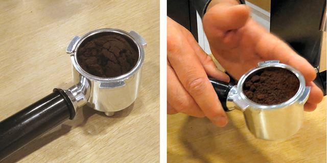 約7gのコーヒー粉をフィルターに入れ、手でトントントンと叩いて平らにする