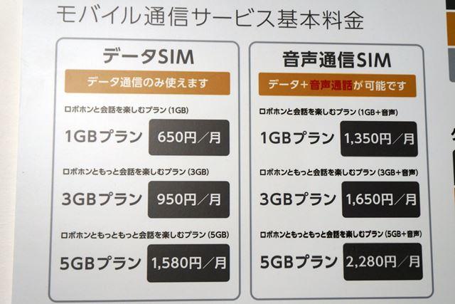シャープが「RoBoHoN」のために用意したSIMカードの料金メニュー。最安で650円からという価格設定