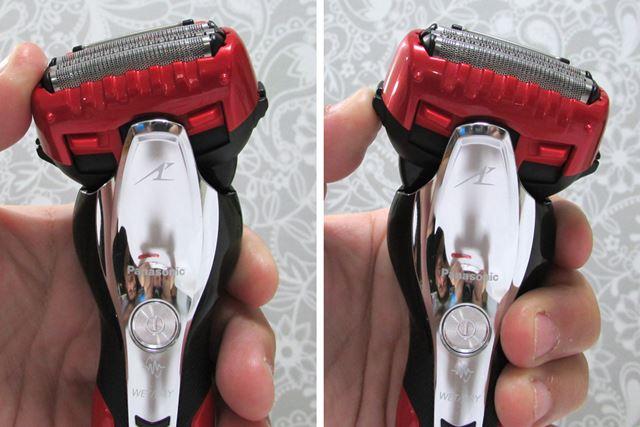ヘッドは左右にそれぞれ30 °傾き、顔の凹凸にもフィットすることで剃り残しを防ぐ。ちなみにヘッドの固定はできない