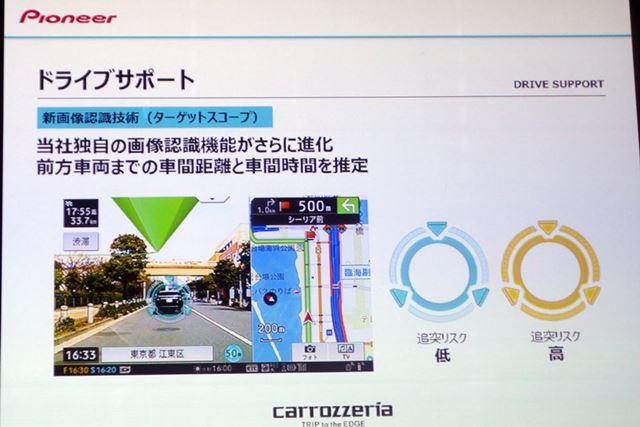 カメラが感知した先行車量との車間距離などの情報を基に、ブレーキの警告などを行ってくれる