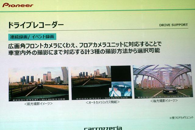 ドライブレコーダー機能も搭載。ドライブレコーダーではユニークな2画面録画にも対応している