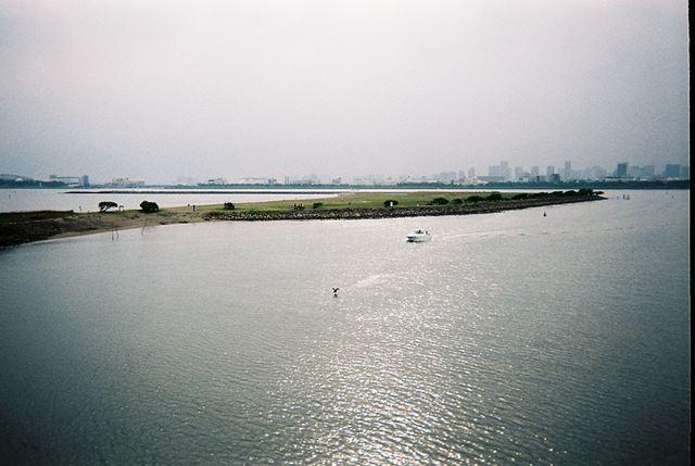 ボートと、ボートから逃げる鳥。水面のキラキラと、左右下隅の暗い部分とのコントラストがよくないですか