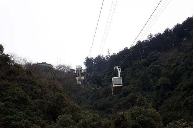登山の約1/3ほどの時間で着けるロープウェーは、15分間隔で運行している