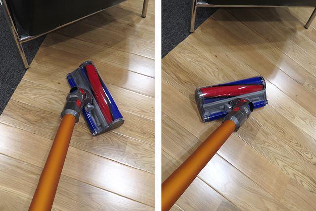 ヘッドがなめらかに動き、また案外フラットになり低い位置の掃除がラクに行えることがわかった