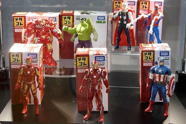 マーベルのメタコレも。手前中央「アイアンマン マーク46」は9月中旬の発売となります。価格は税別1,000円
