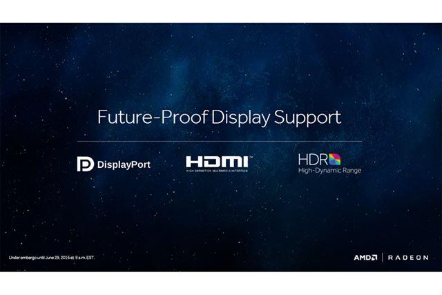 Polarisでは、DisplayPort 1.3/1.4とHDMI 2.0bがサポートされる