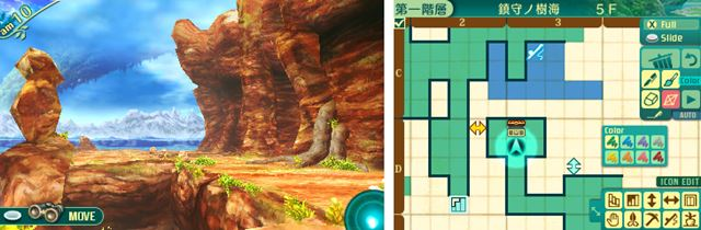 迷宮の攻略マップを3DSの下画面に書きこんでいく。懐かしい感覚だが、手書きより圧倒的に便利!