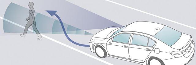 走行中に車線を逸脱し、車線脇にいる歩行者と衝突しそうなとき、自動でステアリング制御を行い、衝突を回避しようとする機能。約10〜40km/hの走行中に作動する