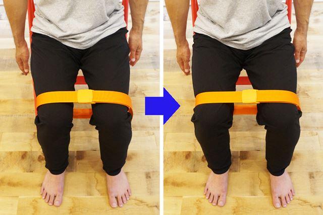 2. ベルトを引きちぎるぐらいの意識で、思い切り膝を外側に開こう。10秒ほど力を入れ続けたあと、力を抜く